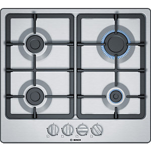 Bosch Serie 4 60cm Gas Hob with Sword Knobs Stainless Steel PGP6B5B90