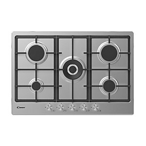 Candy 75Cm 4 Burner Gas Hob With Cast Iron Pan Supports Stainless Steel Chg74Wpx