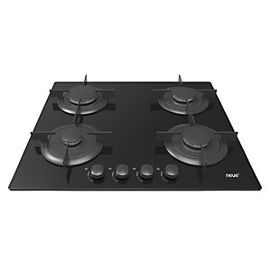Neue 60Cm Gas On Glass Hob With Front Rotary Control Black Glass Nvg64Spn