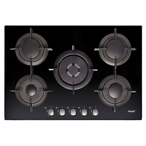Neue 75Cm Gas On Glass Hob With Front Rotary Control Black Glass Nvg75Swp Nx
