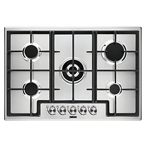 Zanussi 5 Burner Gas Hob with Cast Iron Pan Supports Stainless Steel ZGH76524XX