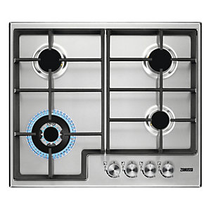Zanussi 60 cm 4 Burner Gas Hob with Cast Iron Pan Supports Stainless Steel ZGH66424XX