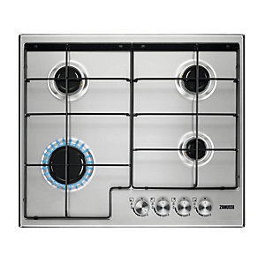 Zanussi 60 cm 4 Burner Gas Hob with Enamel Pan Supports Stainless Steel ZGH65414XX