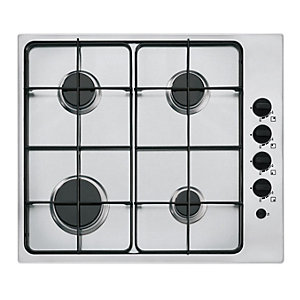 neue 60 cm 4 Burner Gas Hob with Enamel Pan Supports Stainless Steel GH604SS