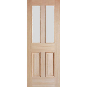 Internal 4 Panel Oak Raised Mouldings Glazed Door