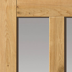 Oak Rustic 4 Panel Prefinished Glazed Internal Door 35 x 1981 x 762mm
