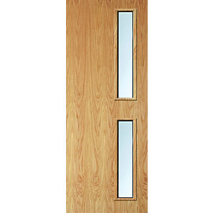 Internal Oak Flush Veneer 30 Min Fire Door 16G Glazed Door