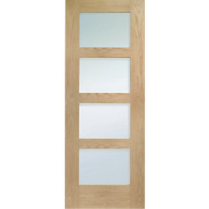 Internal Shaker 4 Panel Oak Obscure Glazed Door