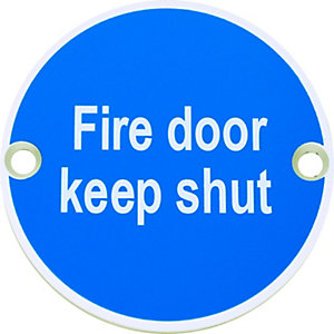 Fire Door Keep Shut Sign Satin Anodised Aluminium 75mm FD112