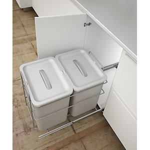 Bottom Mounted Pull Out Bin for Hinged Doors (400mm)