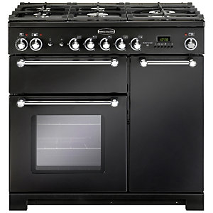 Rangemaster Kitchener Dual Fuel Range Cooker 90 cm Black with Chrome Trim