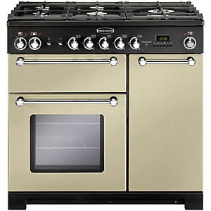 Rangemaster Kitchener Dual Fuel Range Cooker 90 cm Cream with Chrome Trim