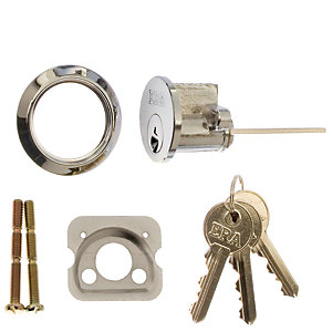 ERA Replacement Night Latch Cylinder and 3 Keys Chrome 863-61