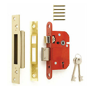 ERA Standard Mortice Sashlock 3 Lever Chrome and Brass Striking Plates 2.5 Inch (64mm) 473-3-6-1