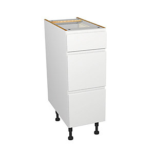 Self Assembly Kitchens Madison White 300 3 Drawer Base
