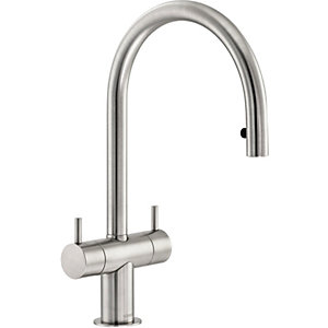 Abode Hesta Dual Lever Pull Out Tap Brushed Nickel