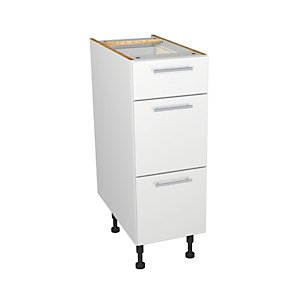 Self Assembly Kitchens Orlando White 300 3 Drawer Base