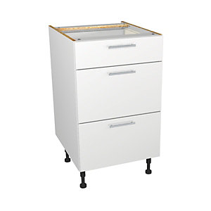 Self Assembly Kitchens Orlando White 500 3 Drawer Base