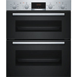 Bosch Serie 2 Built Under Double Oven with 3D Hot Air Stainless Steel NBS113BR0B