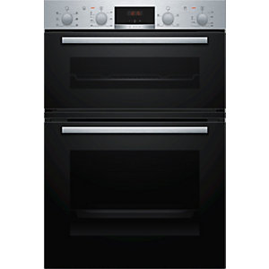 Bosch Serie 2 Built in Eco Clean Double Oven with 3D Hot Air Stainless Steel MBS133BR0B