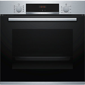 Bosch Serie 4 Built in Ecoclean Single Oven with 3D Hot Air Stainless Steel HBS534BS0B