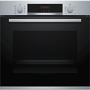 Bosch Serie 4 Built in Pyrolytic Single Oven with 3D Hot Air Stainless Steel HBS573BS0B