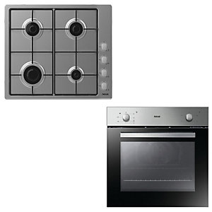 Neue Conventional Oven and 60cm Gas Hob Pack Stainless Steel S0NAPM202PK0010