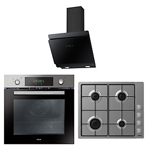 Neue Fan Oven + Timer / Gas Hob & Black Glass Angled Hood Pack