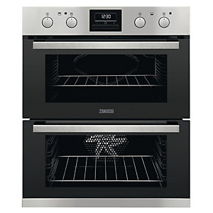 Zanussi Built Under Double Oven Stainless Steel Black 85L ZOF35802XK