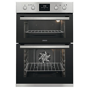 Zanussi Double Oven Stainless Steel Black 104L ZOD35802XK