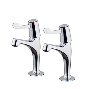 Belfort Pillar Sink Taps Chrome