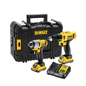 DeWalt 10.8V Combo Kit with 10.8V Combi, Impact Driver 2 x 2.0AH Batteries, Multi-voltage Charger & Tstak DCK218D2T-GB