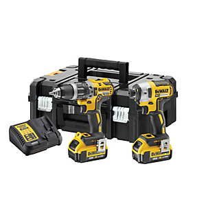 DeWalt 18V Xr Compact Brushless Combi & Impact Drill Twin Pack DCK266M2T-GB