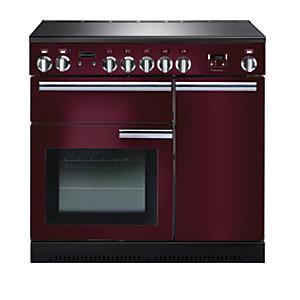 Rangemaster Professional Plus Induction Range Cooker 90 cm Cranberry with Chrome Trim