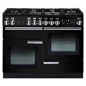 Rangemaster Professional Plus Natural Gas Range Cooker 110 cm Black with Chrome Trim