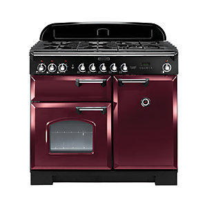 Rangemaster Classic Deluxe Dual Fuel Range Cooker 100 cm Cranberry with Chrome Trim