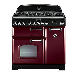 Rangemaster Classic Deluxe Dual Fuel Range Cooker Cranberry with Chrome Trim 90cm