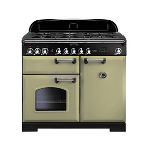 Rangemaster Classic Deluxe Dual Fuel Range Cooker Olive Green with Chrome Trim 100cm