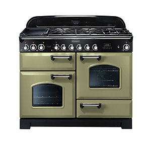 Rangemaster Classic Deluxe Dual Fuel Range Cooker Olive Green with Chrome Trim 110cm