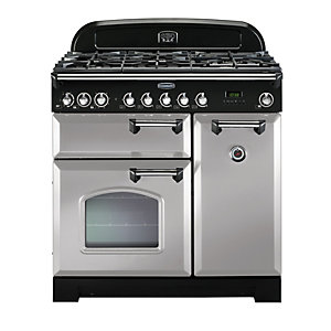 Rangemaster Classic Deluxe Dual Fuel Range Cooker Royal Pearl with Chrome Trim 90cm