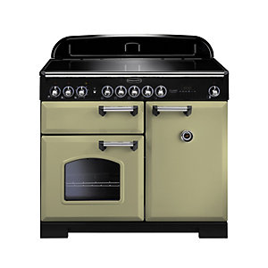 Rangemaster Classic Deluxe Induction Range Cooker 100 cm Olive Green with Chrome Trim