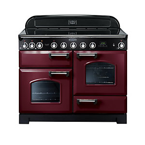 Rangemaster Classic Deluxe Induction Range Cooker 110 cm Cranberry with Chrome Trim