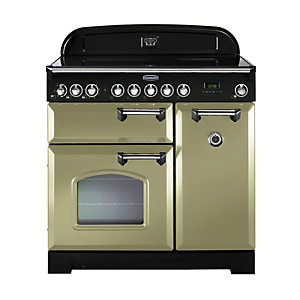 Rangemaster Classic Deluxe Induction Range Cooker 90 cm Olive Green with Chrome Trim