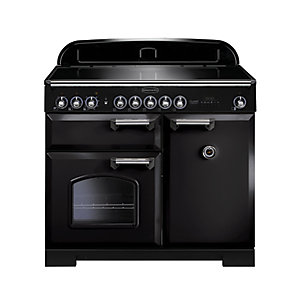 Rangemaster Classic Deluxe Induction Range Cooker Black with Chrome Trim 100cm