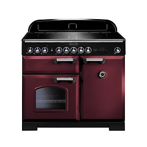 Rangemaster Classic Deluxe Induction Range Cooker Cranberry with Chrome Trim 100cm