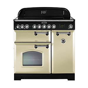 Rangemaster Classic Deluxe Induction Range Cooker Cream with Chrome Trim 90cm