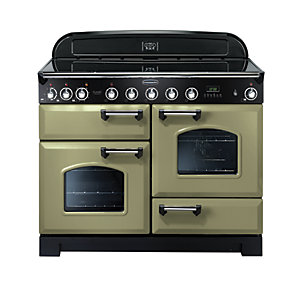 Rangemaster Classic Deluxe Induction Range Cooker Olive Green with Chrome Trim 110cm