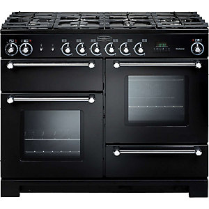 Rangemaster Kitchener Dual Fuel Range Cooker 110 cm Black with Chrome Trim