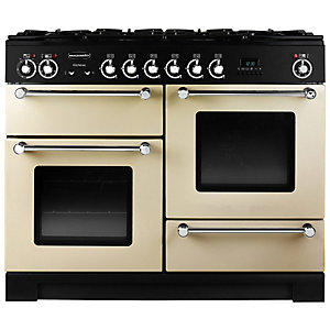 Rangemaster Kitchener Dual Fuel Range Cooker 110 cm Cream with Chrome Trim