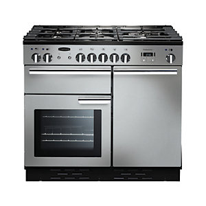 Rangemaster Professional Plus Dual Fuel Range Cooker 100 cm Stainless Steel with Chrome Trim